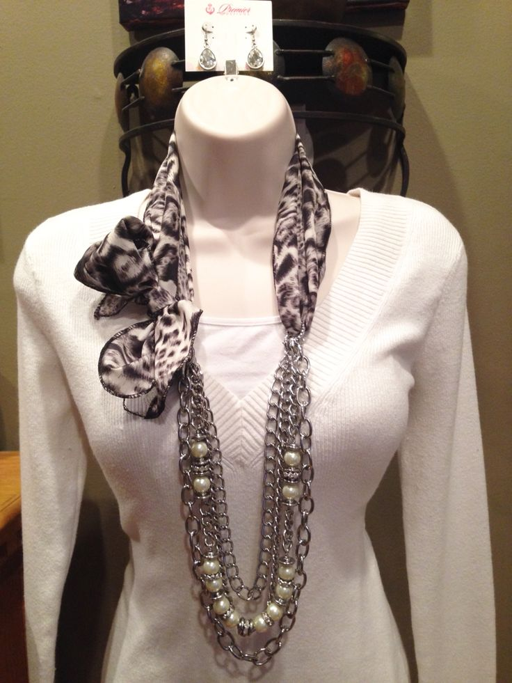 Premier Designs Jewelry.  Instaglam necklace with scarf.  Super cute.  #pdlife #pdstyle