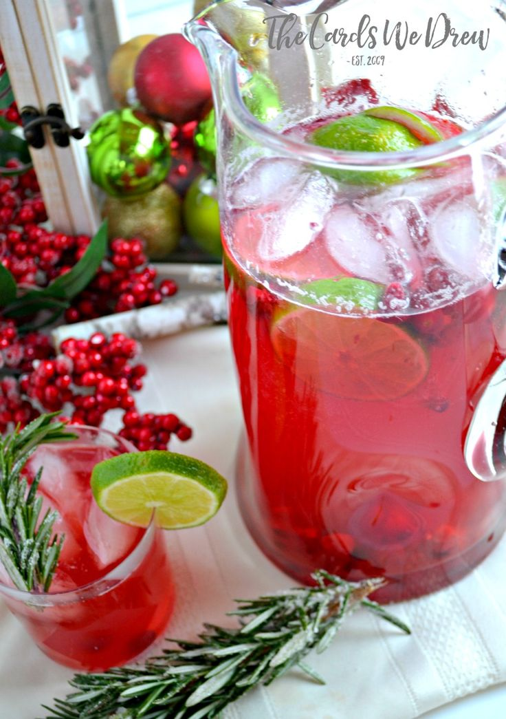 Delicious Cranberry Lime Vodka Christmas Spritzer for the holidays--a great holiday beverage for you and your company to enjoy.