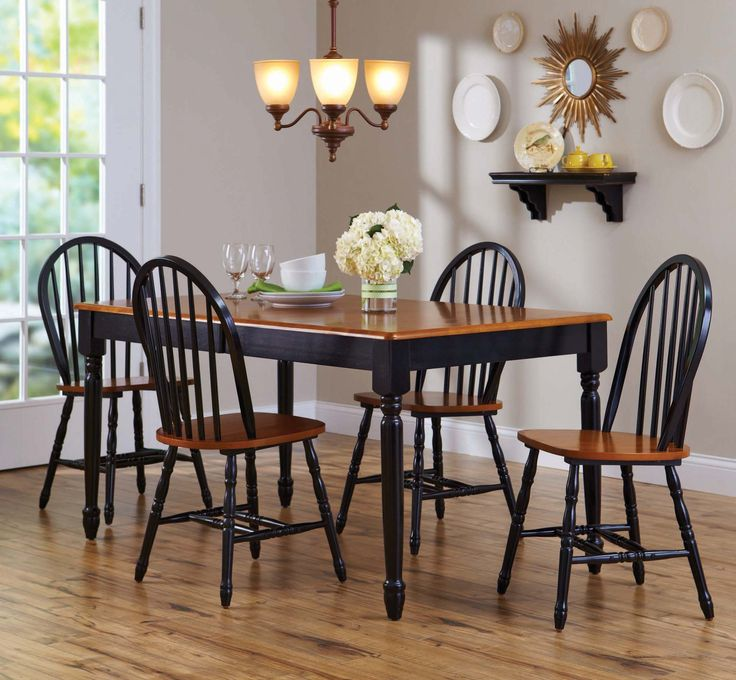 Better homes and gardens autumn lane 5 piece dining set w leaf black room ideasdecor