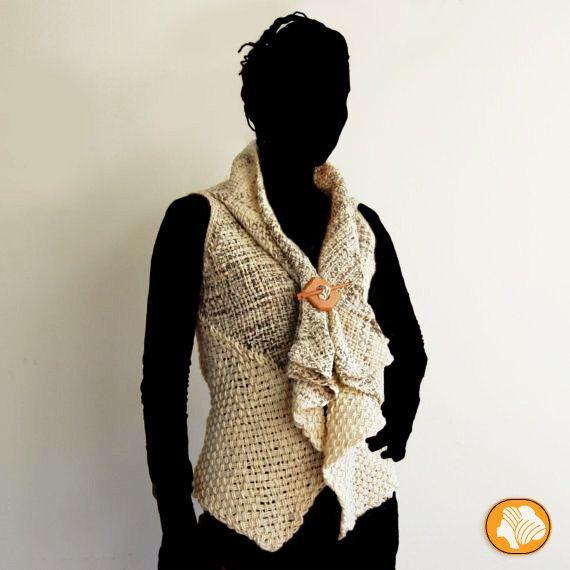 Chaleco sin mangas lana natural