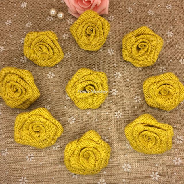 Ücretsiz Kargo Rustik Açık Vintage Düğün Dekor Sarı Renk Çuval Çiçek Doğal Çuval Bezi Güller 100% Çuval Jüt Kenevir Çiçek