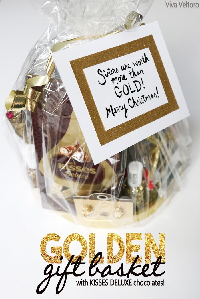 Go golden with this gift basket idea using KISSES DELUXE Chocolates and other goodies! #SayMore #AD