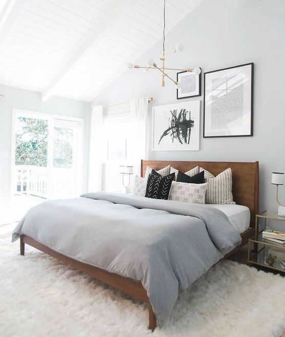 black and white mud cloth pillows in the bedroom