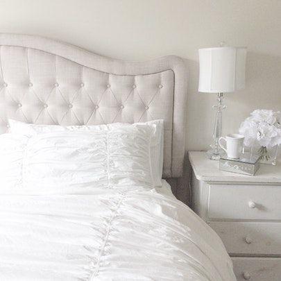 Neutral bedroom, Neutral tufted upholstered headboard, white bedding - bedroom decor is linked to shop with @liketoknow.it #liketkit http://liketk.it/2rJLO #LTKsalealert #LTKhome
