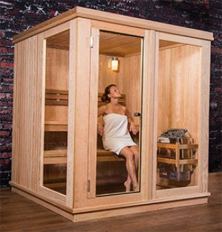 """""""So this is why steam saunas are so popular all over the world,"""" you'll be musing to your friends as the four of you take a break inside this great looking spa, made of high-grade Canadian hemlock and western red cedar. They say a session in a sauna can improve skin tone, enhance your respiratory system, soothe sore joints and detoxify your entire body, all while burning up to 300 calories."""