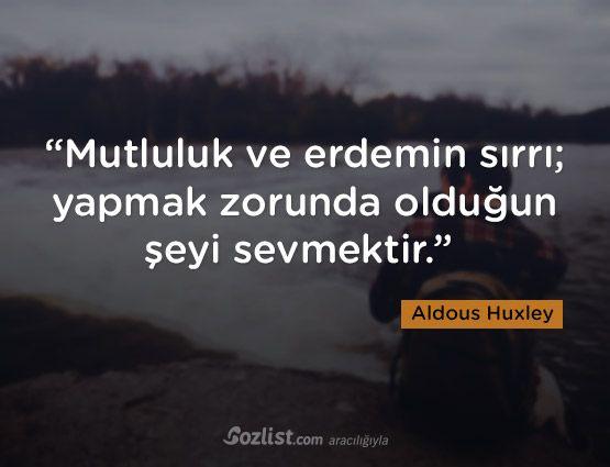 """""""Mutluluk ve erdemin sırrı; yapmak zorunda olduğun şeyi sevmektir."""" #aldous #huxley #sözleri #yazar #şair #kitap #şiir #özlü #anlamlı #sözler"""