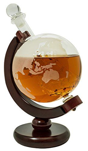 Whiskey-Decanter-for-Spirits-or-Wine-850mL-Decorative-Etched-Glass-Globe-Design-Dark-Finished-Wood-Stand-Handcrafted-Quality-Includes-Bonus-Bar-Funnel-0
