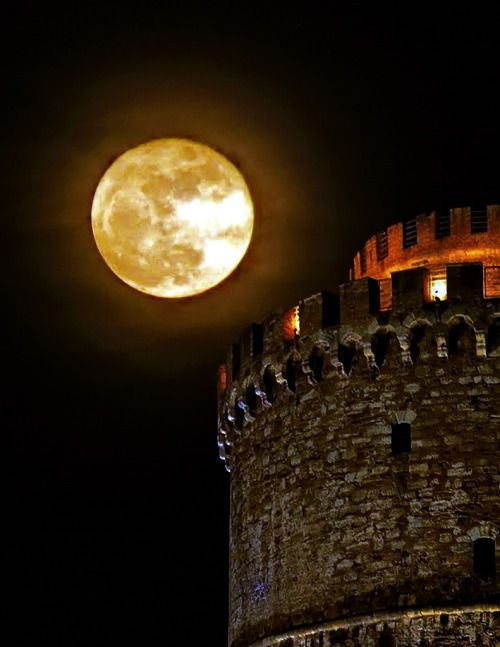 Thessaloniki, Macedonia Greece. The White Tower under the moonlight.