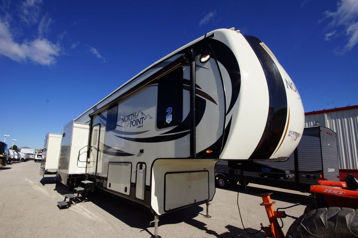 """GORGEOUS LUXURY FAMILY 5TH WHEEL!!!   2017 Jayco North Point 375BHFS  Travel like royalty in this spectacular 43'3"""" long luxury fifth wheel! Everyone will enjoy their own private spaces, with a awesome rear bunkhouse for kids and an incredible master bedroom for you! This 13,740 lb. 5th wheel is easily towed with 7k lb. axles and setup with wide-stance front landing gear!  Give our North Point expert Dominique Thivierge a call 231-740-4190 for pricing and more information."""