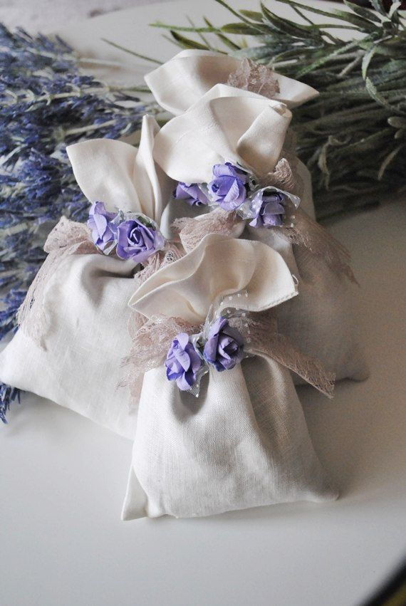 Lavender Sachet White Linen set of 3 Wedding Favor with 100% high quality…