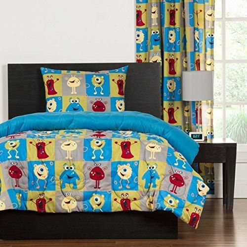 Kids Cute Monster Themed Comforter Full Queen Set Funny Faces Character Square Pattern Blue Bedding Vibrant Colors Blue Green Grey Red Yellow Unisex