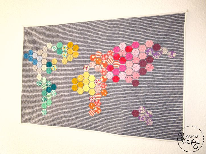 """hexagon template & world map """"pattern""""I'm sure we all have these projects we see somewhere online or in a magazine that we can't get out of our heads. Nicole of Modern Handcraft'smodern hexi..."""