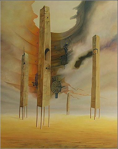 Strażnicy 92 x 73 cm olej na płótnie