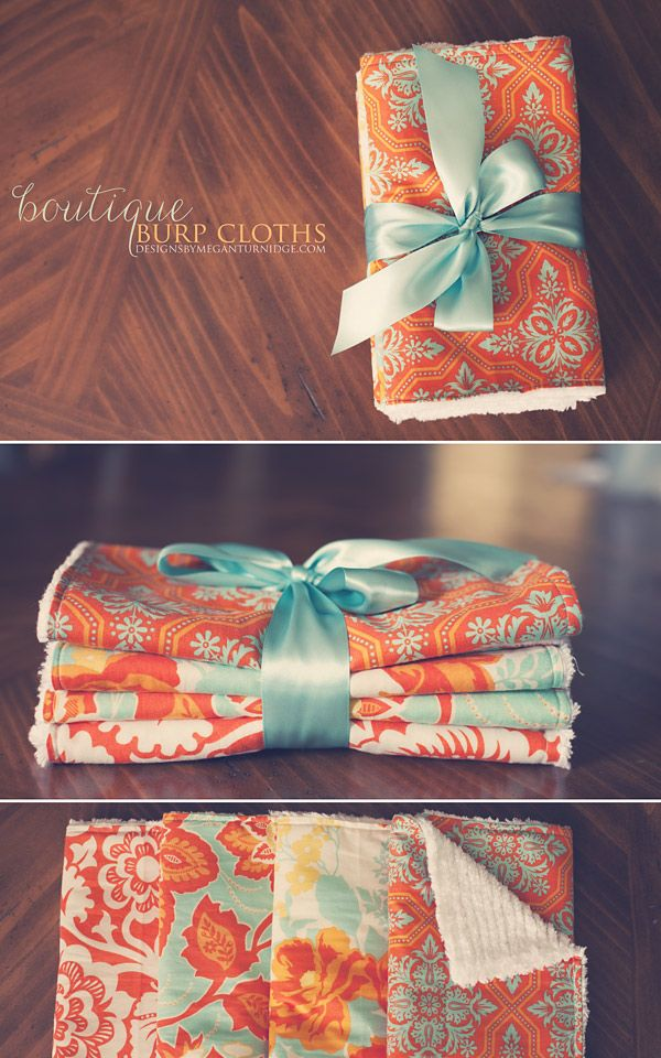 DIY Boutique Burp Cloths Sewing Project | Handmade Baby Gifts | Designs by Megan Turnidge | Digital Scrapbooking and Crafting Blog~ would be a great thing to give Steph, for Matthew!