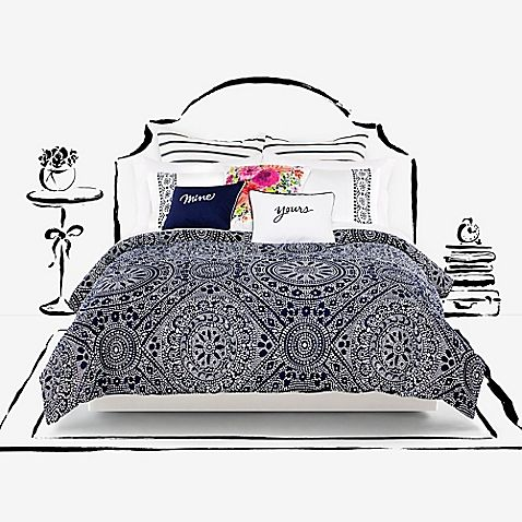 Dress your bed in unique style with the kate spade new york Eyelet Medallion Duvet Cover Set. Decked out in an allover eyelet medallion print in navy and white hues, the ornate bedding adds a dash of chic sophistication to any room's décor.
