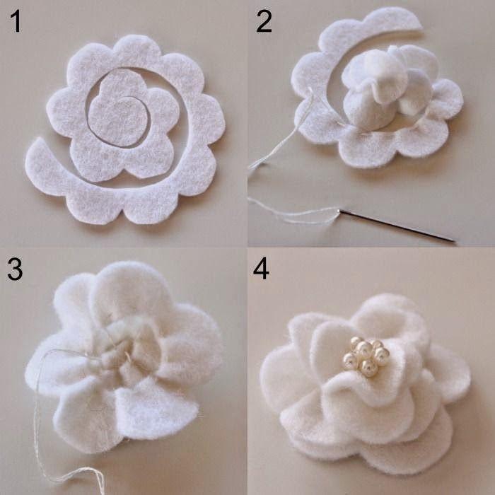 ARTESANATO COM QUIANE - Paps,Moldes,E.V.A,Feltro,Costuras,Fofuchas 3D: como faz flor Magnólia de feltro