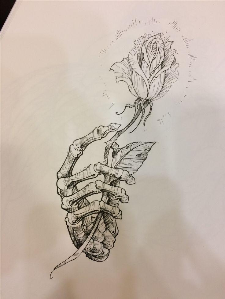 Skull And Rose Drawing, Skeleton