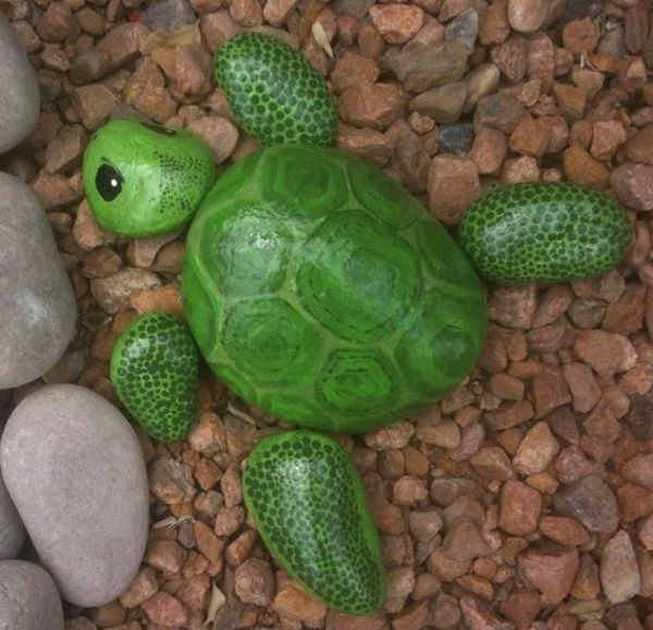 little painted rocks to look like a turtle in the garden :)