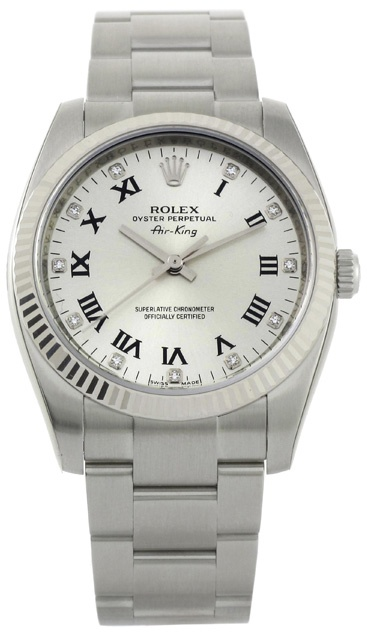 Rolex Air King White Dial with Diamonds Automatic Mens Watch 114234WDO  $7090.50  #Rolex #LuxuryWatches