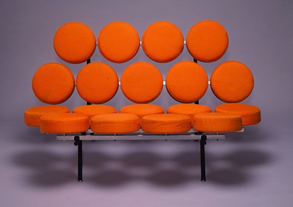 Orange Marshmallow Sofa by George Nelson