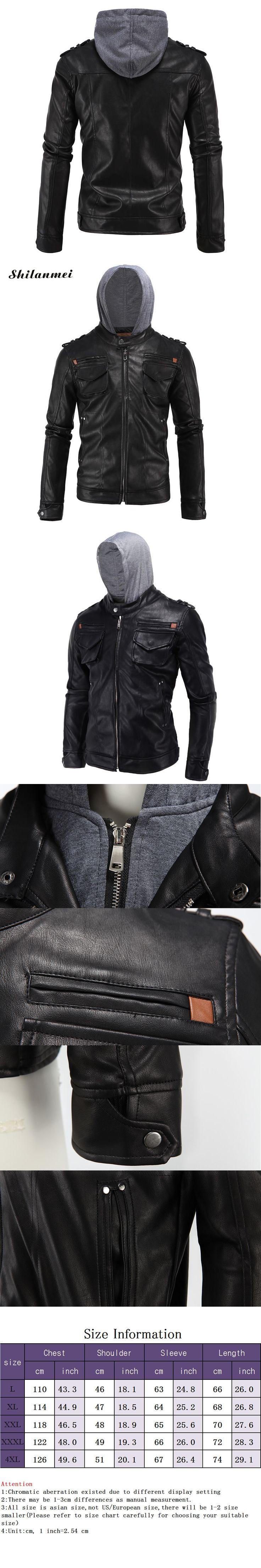 PU Men Coat 2018 European American Style Long Sleeves Fashion Winter Leather Jacket Coat Round Neck Solid Slim Fit Black Coat