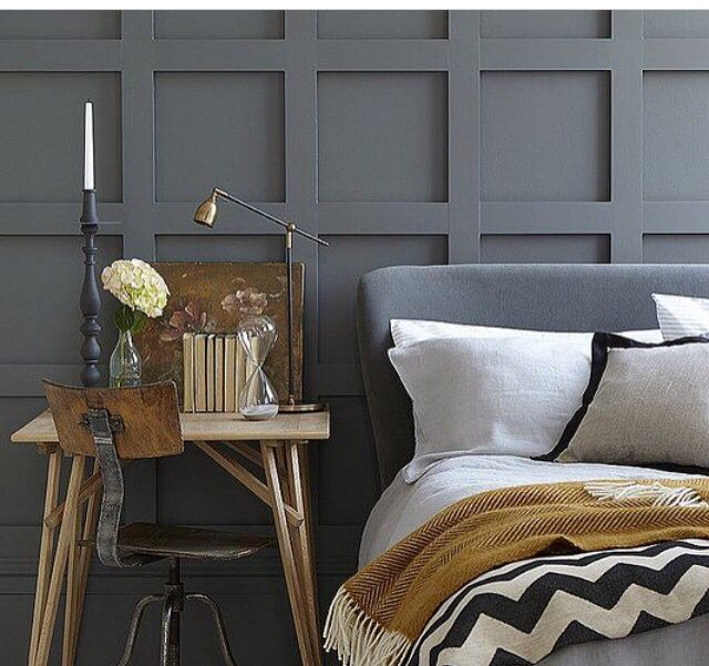 adding this would tuna accent wall behind our bed and using bottlenose dolphin paint by valspar
