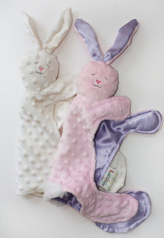 Minky Bunny Rabbit Baby Blanket Security Blanket by BBsForBabies