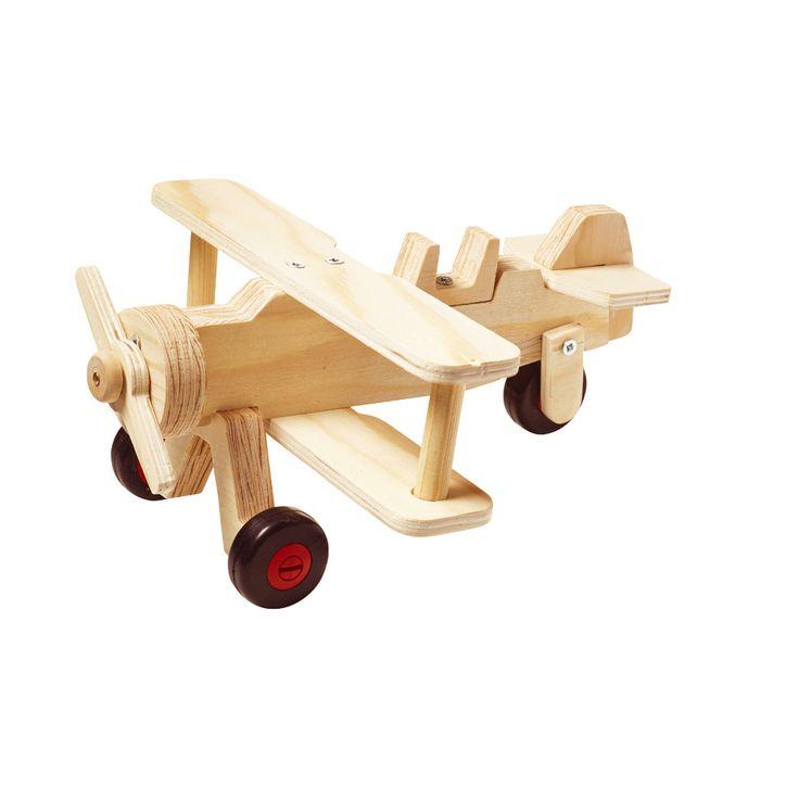 zelf een houten tweedekker vliegtuig maken – houten speelgoed zelf maken red toolbox biplane kit level 1 beginners
