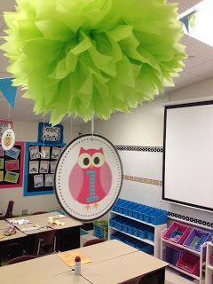 Owl Classroom Theme...totally doing these poofs for my table colors!!