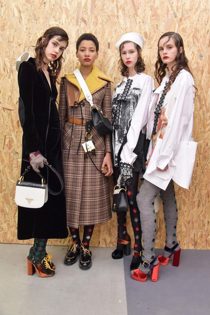 Models backstage at Prada's pre-fall 2016 show