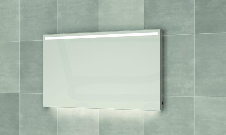 Bruynzeel spiegelpaneel 100 cm met horizontale led verl aluminium - Bruynzeel Spiegels - Sanitairwinkel.be  €423