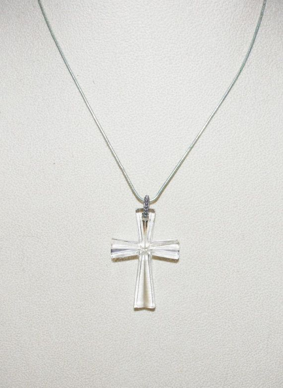 Vintage Waterford Crystal Cross with Silver by SCLadyDiJewelry