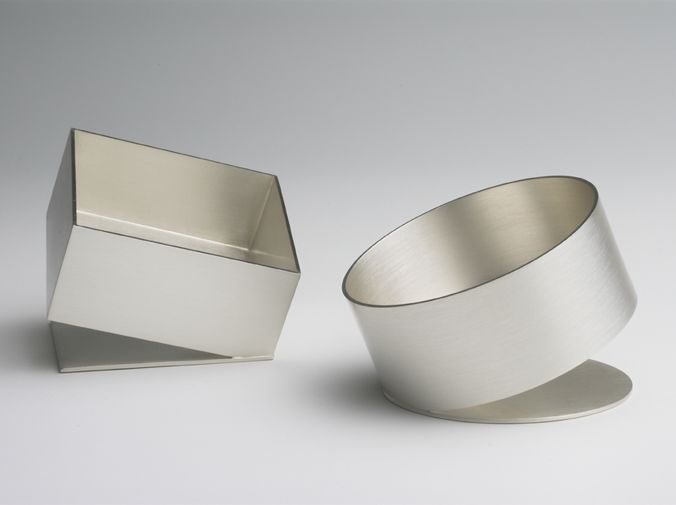 Square and round sterling silver tilt dishes, Angela Cork