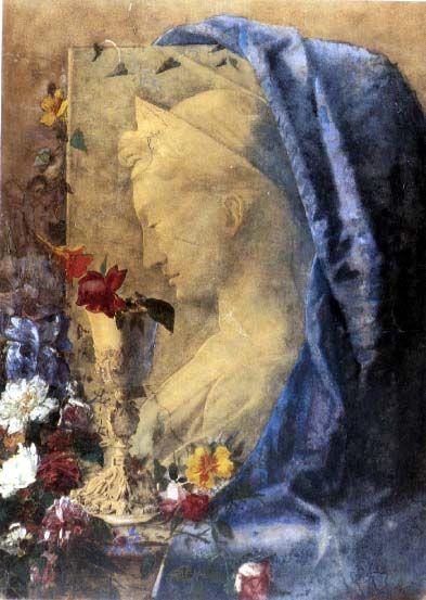 Giovanni Segantini, NATURA MORTA CON SANTA CECILIA, Tempera su carta incollata su cartoncino, cm 74,5x54, Milano, Civica Galleria d'Arte Moderna