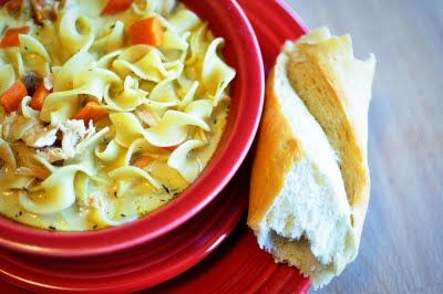 This is the BEST chicken noodle soup.  Ever.  And yes, I totally pinned a recipe from my own blog.  I'm cool like that.