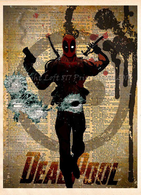 Deadpool poster, Deadpool wall art, Vintage dictionary print, superhero