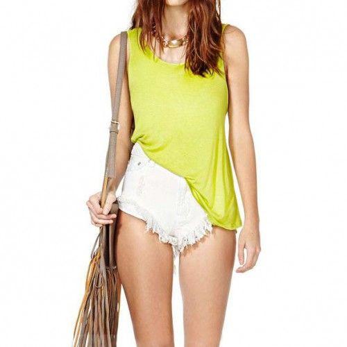 Women Fashion Backless Tank Top Basic Camisole Tops Lemon Yellow