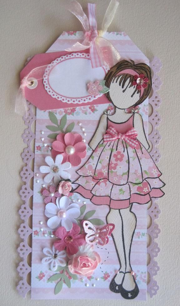 Girl Pink Floral Prima Paper Doll Tag pre-made for scrapbook papers ♡