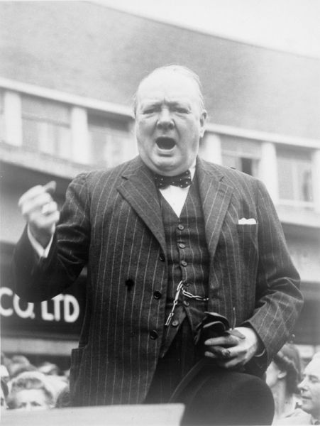 Churchill making a speech in Uxbridge, Middlesex, during the 1945 general election campaign.