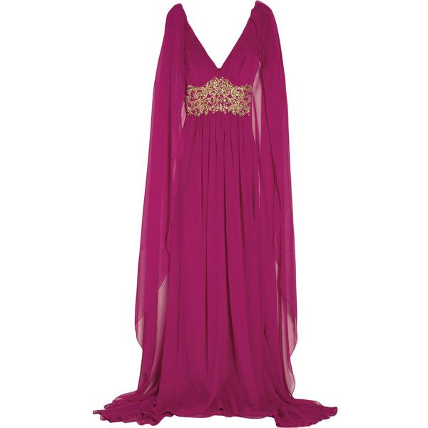 Marchesa Embellished silk-chiffon cape-back gown (2,310 CAD) ❤ liked on Polyvore featuring dresses, gowns, long dresses, robes, magenta, sequin dress, purple evening dresses, long evening gowns, purple evening gown and purple dress