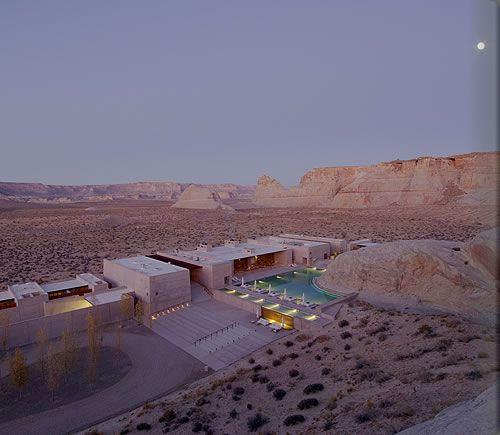 Amangiri (peaceful mountain) is located on 600 acres in Canyon Point, Southern Utah, close to the border with Arizona / Aman Resort
