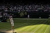 Andy Murray serves to Roberto Bautista Agut