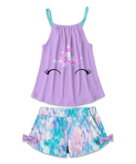 21d3a65f061f Putting together a comfy and charming ensemble for your sweetie will be a  breeze thanks to this matching set that includes a unicorn tank and shorts  with ...