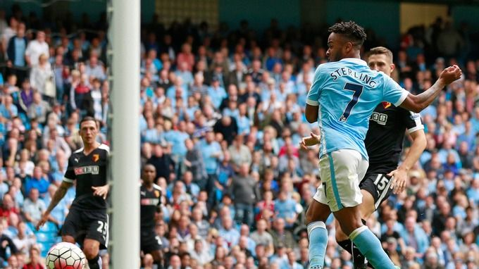 Aug. 29th. 2015: Raheem Sterling scores his first Manchester City goal against Watford