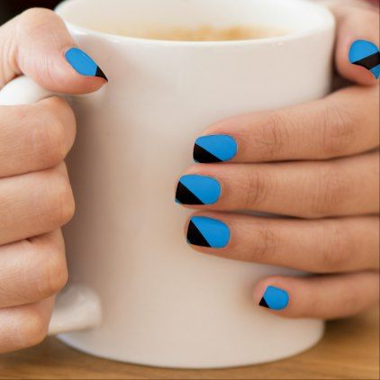 Turquoise Blues Striped Minx Nails Minx Nail Wraps - black gifts unique cool diy customize personalize