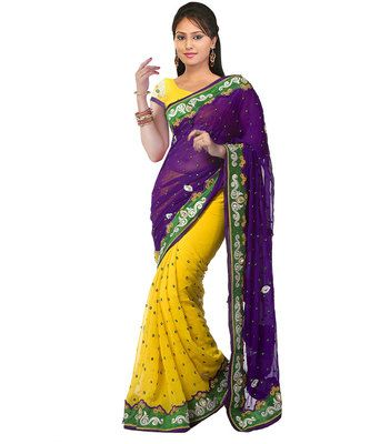 First Lady Yellow Purple Chiffon Georgette Designer Saree Bollywood Sarees Online on Shimply.com
