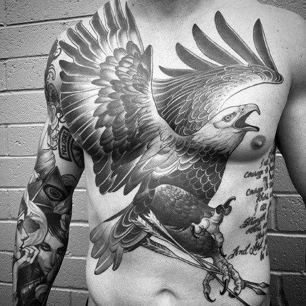 Mens Cool Big Tattoos Eagle On Chest Tattoos For Guys Eagle Chest Tattoo Large Tattoos