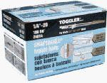 Mechanical Plastics Corp 100Pk1/4-20 Bb Tog Bolt 24014 Toggle Bolts by Mechanical Plastics. $49.99. Toggler Snaptoggle, 100 Pack, 1/4'-20', BB Toggle Bolt, For Hollow Walls, Replaces Old Fashioned Toggle Wings, Strong & Require A Smallest Hole, Can Be Pre-Installed Without Using A Bolt & Won't Fall Behind The Wall When The Bolt Is Removed, Solid Metal Channel Centers The Bolt Which Cannot Sag, Will Not Damage Or Break Through The Wall Even Under Vibration.