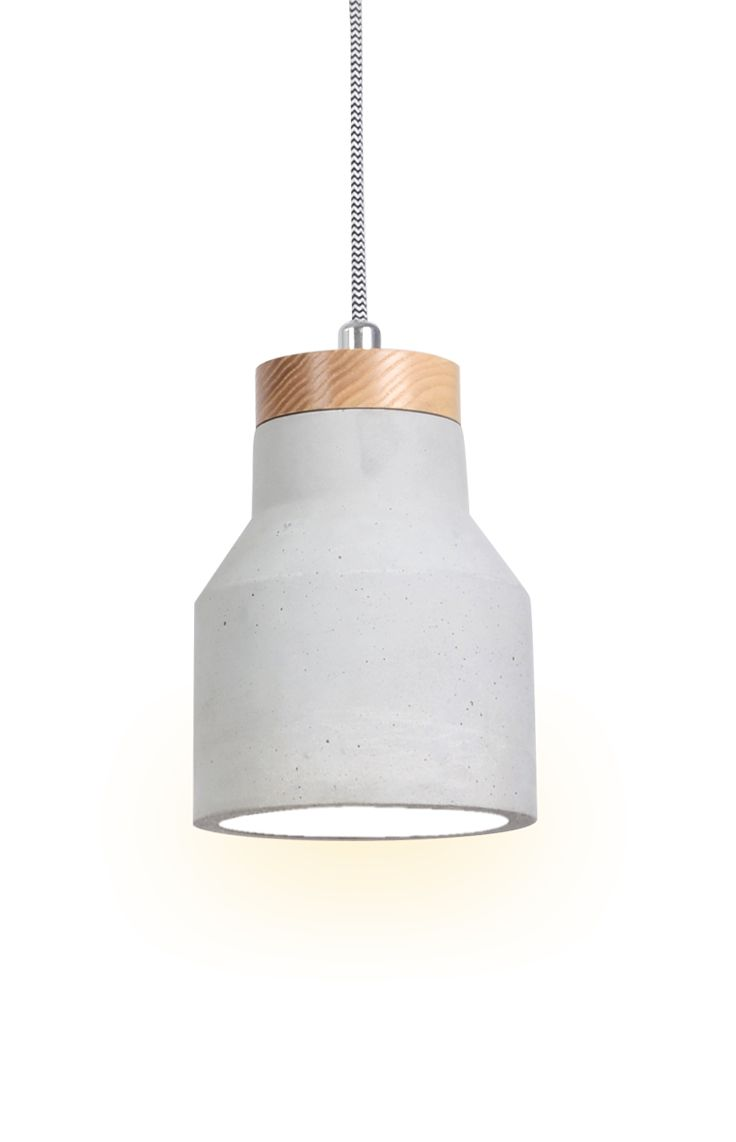 The Beacon Lighting Sculpt carve pendant in concrete with ashwood and chrome detail. Try clustering the single pendants together at different heights with different shapes to create that unique designer look.