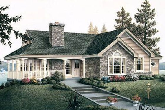 Houseplans - Love this with the wrap around porch but the layout inside needs to have one more bedroom and split master off from other bedroom